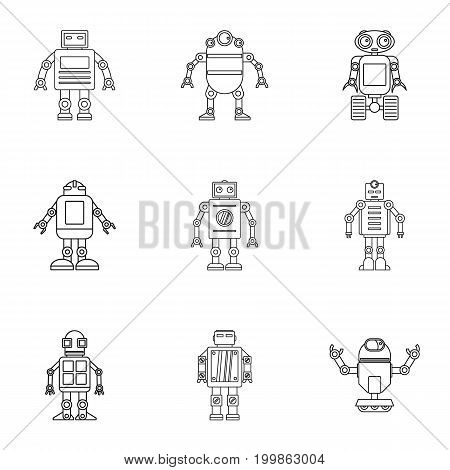 Android icons set. Outline set of 9 android vector icons for web isolated on white background