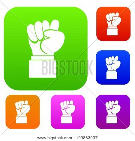 Raised up clenched male fist set icon in different colors isolated vector illustration. Premium collection