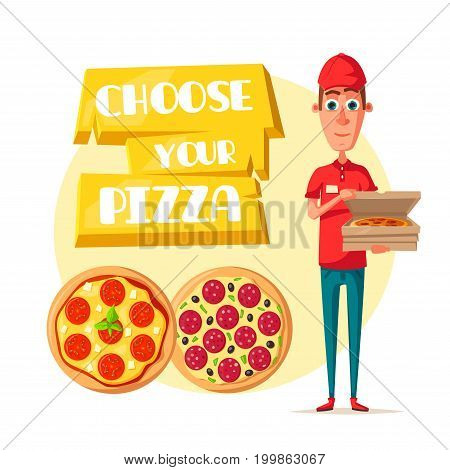 Pizza delivery man cartoon icon. Pizza delivery boy in red uniform holding open box with fast food pepperoni, vegetable and cheese pizza. Italian restaurant food delivery service themes design