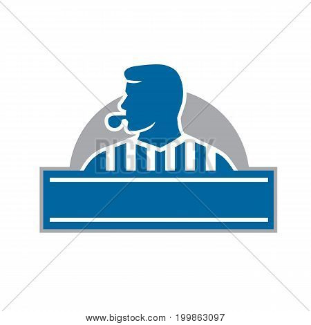 Illustration of a referee umpire official blowing whistle looking to the side viewed from front set inside half circle done in retro style.