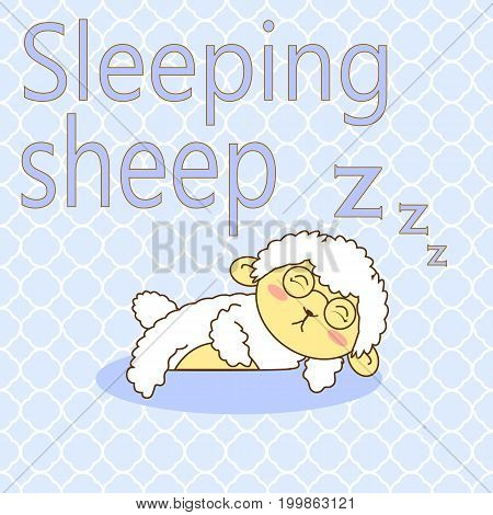 an illustration of sleeping sheep with geometrical pattern for the background
