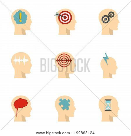 Head think icons set. Flat set of 9 head think vector icons for web isolated on white background