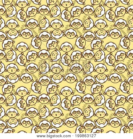 a cute background filled with sheep's head in various mimic