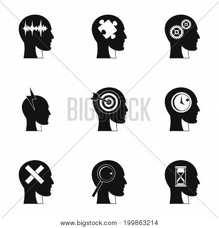 Head think icons set. Simple set of 9 head think vector icons for web isolated on white background