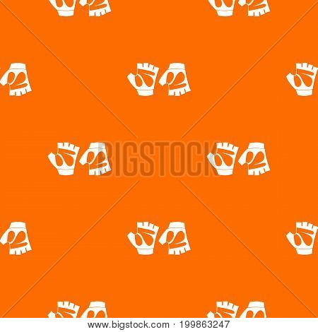 Cycling gloves pattern repeat seamless in orange color for any design. Vector geometric illustration