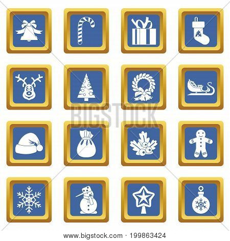 Christmas icons set in blue color isolated vector illustration for web and any design