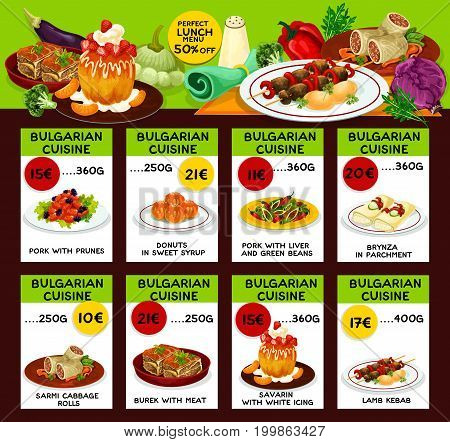 Bulgarian cuisine restaurant lunch menu for special offer brochure template. Lamb kebab, vegetable bean pork stew, meat pie, cheese roll, donut, cabbage beef roll and savarin cake menu card design