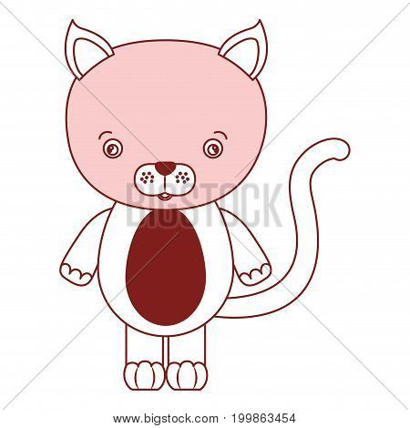 white background with red color silhouette sections of caricature cute cat animal vector illustration