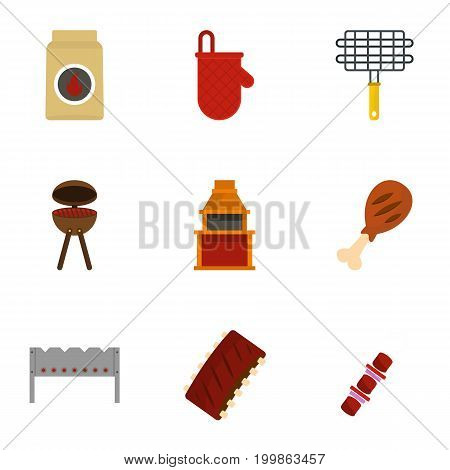 Barbecue equipment icons set. Flat set of 9 barbecue equipment vector icons for web isolated on white background