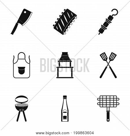 Barbecue equipment icons set. Simple set of 9 barbecue equipment vector icons for web isolated on white background
