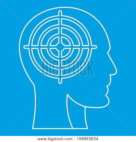 Head with crosshair icon blue outline style isolated vector illustration. Thin line sign