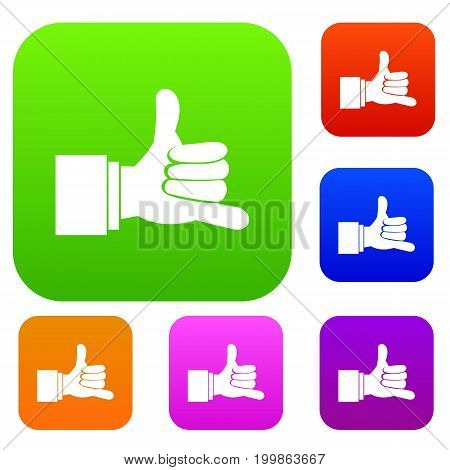 Call me gesture set icon in different colors isolated vector illustration. Premium collection