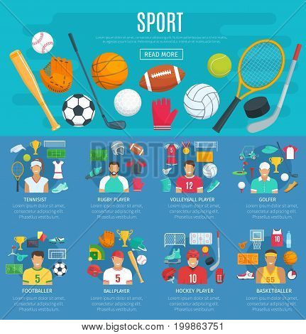 Sport poster template with sporting equipment. Ball for football or soccer, basketball, volleyball, baseball, rugby, golf and tennis, hockey puck, champion trophy and sport game players in uniform
