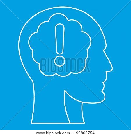 Head silhouette with exclamation mark inside icon blue outline style isolated vector illustration. Thin line sign
