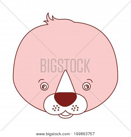 white background with red color silhouette sections of caricature face seal cute animal vector illustration