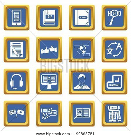 Learning foreign languages icons set in blue color isolated vector illustration for web and any design