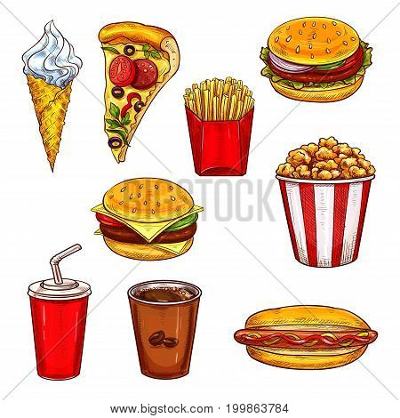 Fast food lunch sketch set with burger, drink and dessert. Hamburger, french fries, sweet soda, pizza, hot dog, cheeseburger, coffee, ice cream cone and popcorn for fast food restaurant themes design