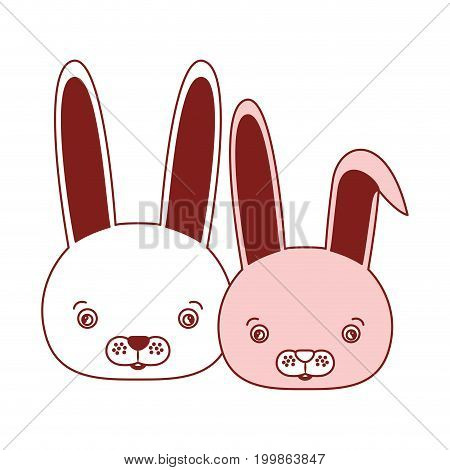 white background with red color silhouette sections of caricature face couple cute animal rabbits vector illustration