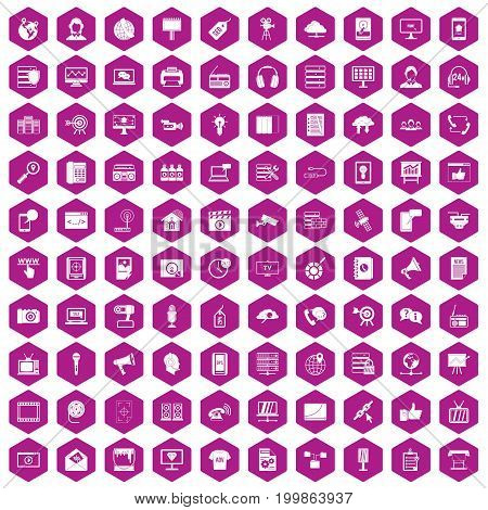 100 information technology icons set in violet hexagon isolated vector illustration