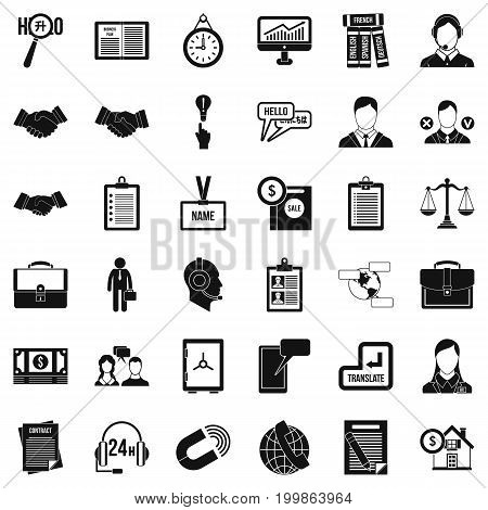 Discussion icons set. Simple style of 36 discussion vector icons for web isolated on white background