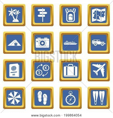 Travel icons set in blue color isolated vector illustration for web and any design