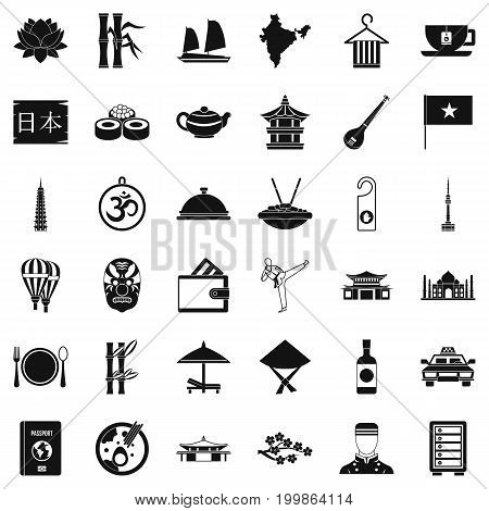 Dish icons set. Simple style of 36 dish vector icons for web isolated on white background