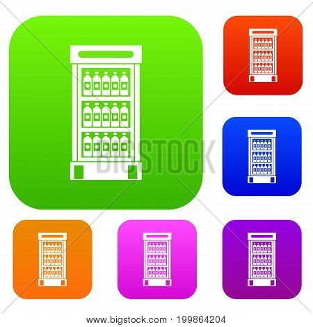 Fridge with refreshments drinks set icon in different colors isolated vector illustration. Premium collection
