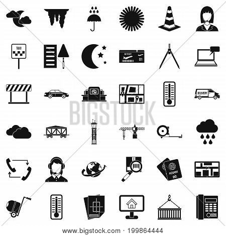 Dispatcher icons set. Simple style of 36 dispatcher vector icons for web isolated on white background