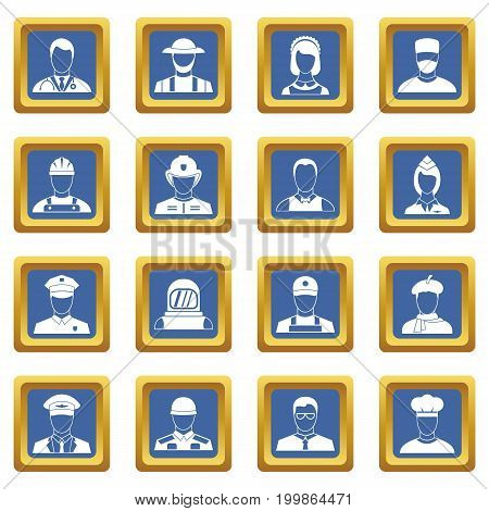 Professions icons set in blue color isolated vector illustration for web and any design