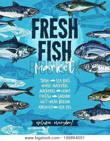 Fresh fish welcoming banner for seafood market template. Tuna, salmon, mackerel, trout, cod, hake, perch, dorado, sardine, anchovy and sprat freshly catched marine fish for fish market label design