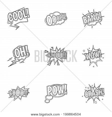 Youth slang icons set. Outline set of 9 youth slang vector icons for web isolated on white background