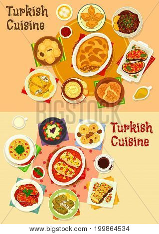 Turkish cuisine dinner icon set. Baked meat and fish with tomato and fruit sauce, vegetable stew and salad, cabbage roll, stuffed eggplant with meat and veggies, nut baklava, date cake, fig cookie