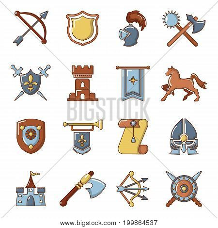 Knight medieval icons set. Cartoon illustration of 16 knight medieval vector icons for web