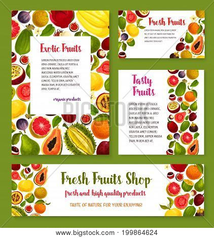 Exotic tropical fruit banner for farm market template with papaya and orange, grapefruit, feijoa, passion fruit, durian, dragon fruit and fig, lychee, mangosteen, rambutan, guava and tamarillo