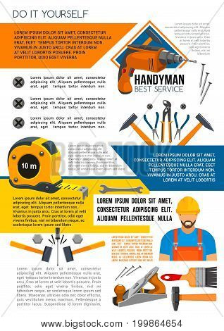 Handyman service poster of man in helmet with work tool. Home repair banner with hammer, wrench, screwdriver, drill, spanner, paint brush, pliers and tape measure for construction themes design