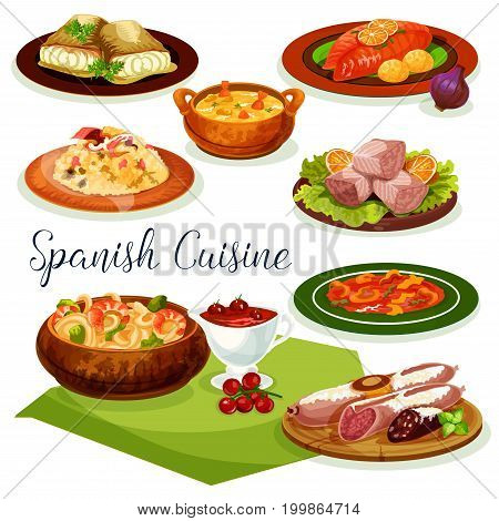 Spanish cuisine dinner menu cartoon icon with traditional sausage, ham and gammon, served with vegetable rice, fish and shrimp soup, seafood noodle, baked cod with chili and tomato sauce, tuna salad