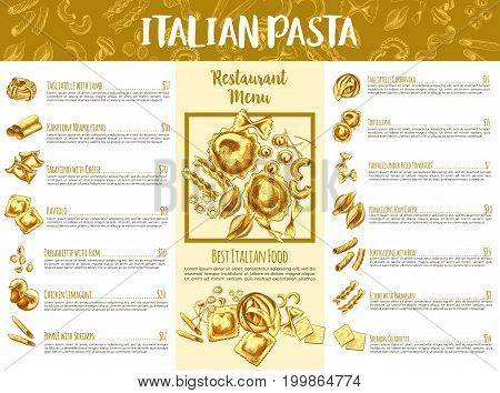 Italian pasta menu template. Italian cuisine restaurant traditional food menu list of pasta served with cheese, vegetable sauce, meat, seafood and fish, adorned by spaghetti, penne, farfalle sketches