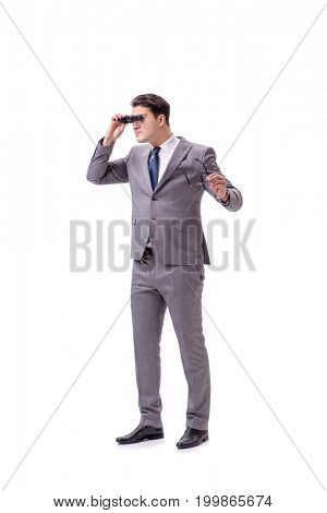 Young man with binoculars isolated on white