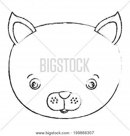blurred silhouette caricature face cat cute animal vector illustration