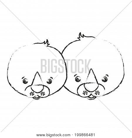 blurred silhouette caricature face couple cute animal seals vector illustration