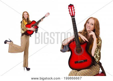 Young girl with guitar on white