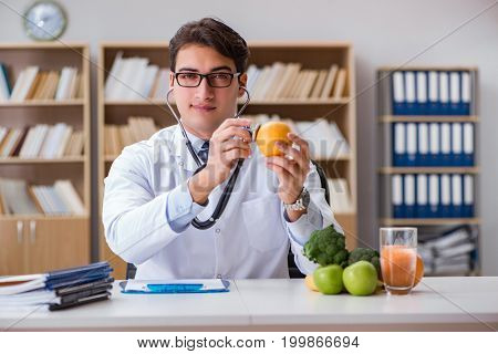 Scientist studying nutrition in various food
