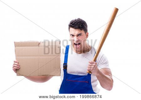Angry man with baseball bat holding a message board on white bac