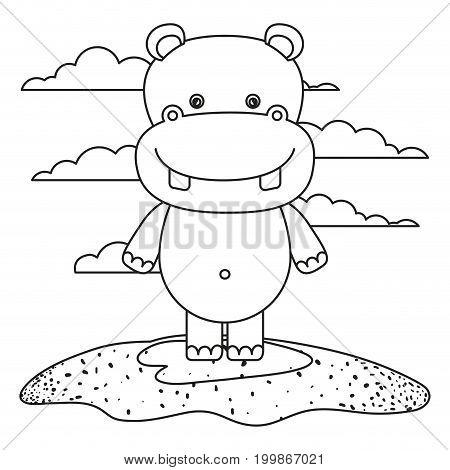 sketch silhouette scene cute hippopotamus animal in grass vector illustration