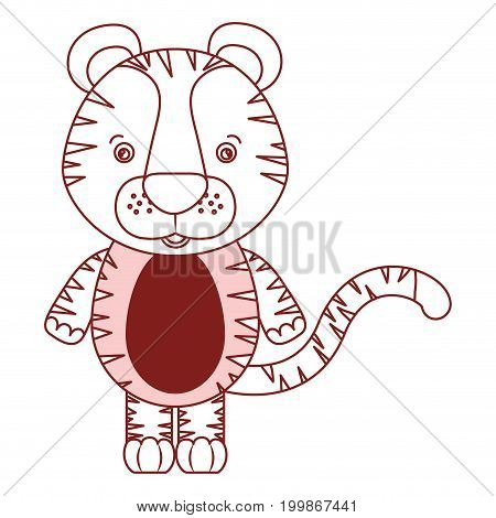white background with red color silhouette sections of caricature cute tiger animal vector illustration