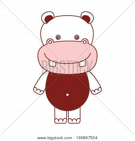 white background with red color silhouette sections of caricature cute hippopotamus animal vector illustration