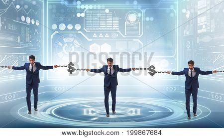 Blockchain concept with businessmen holding hands