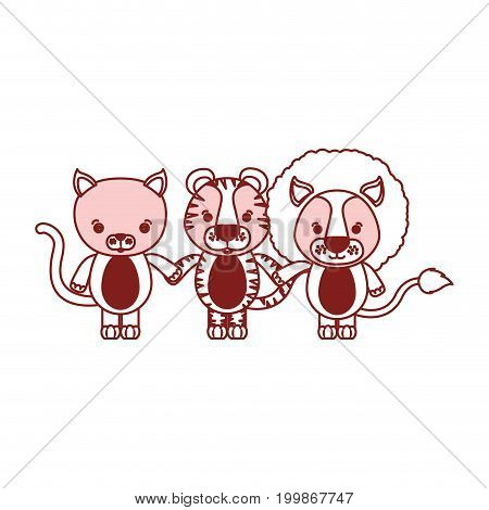 white background with red color silhouette sections of caricature cat tiger and lion cute animals holding hand vector illustration