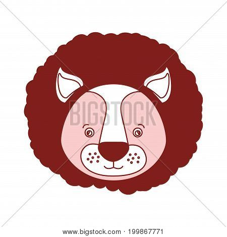 white background with red color silhouette sections of caricature face lion cute animal vector illustration