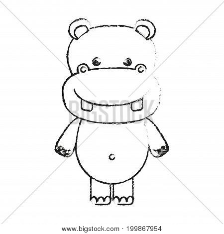 blurred silhouette caricature cute hippopotamus animal vector illustration